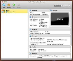 la schermata principale di virtualbox